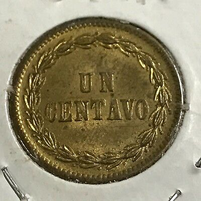 1877 Dominican Republic One Centavo Scarce Uncirculated Coin