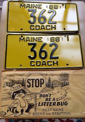 Vintage NOS Maine 1968 Coach License Plates Low Number #362 MINT