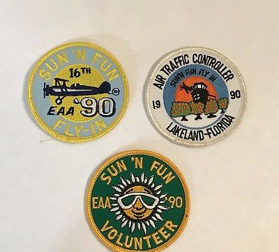 1990 Sun N Fun 16Th Annual Eaa Fly-In Airshow Lakeland Fl - 3 Woven Patches