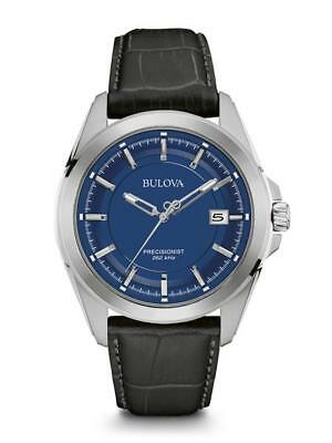 BULOVA MEN'S STAINLESS STEEL BLUE DIAL LEATHER STRAP PRECISIONIST WATCH 96b257