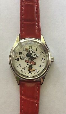 DISNEY Parks Authentic Original Minnie Mouse Watch Red Leather Band NEW NWOT