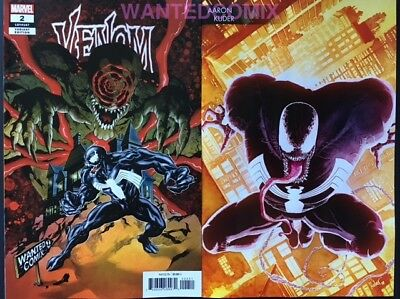 Venom #1 Kuder Variant Cover & Venom #2 Wanted Comix Store Variant Cover Set 1 2