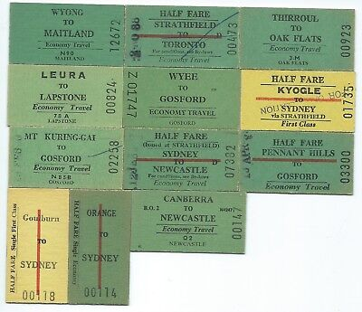 12 Different NSW Country Single Tickets inc Leura,Kyogle,Thirroul,Canberra,Wyee