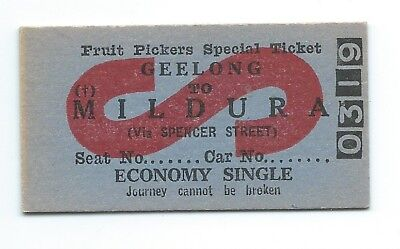 GEELONG - MILDURA Fruit Pickers Single Ticket via Spencer St