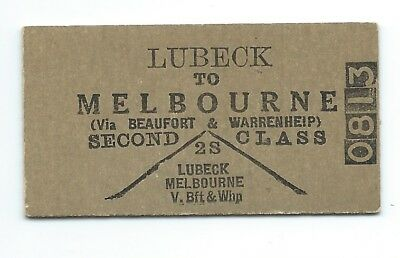 LUBECK - MELBOURNE 2nd Class Single Ticket