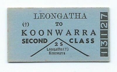 LEONGATHA - KOONWARRA 2nd Class Single Ticket