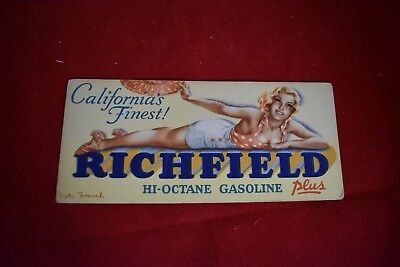 Vintage Advertising Richfield Gas 1940's Blotter with Artwork by Viola French