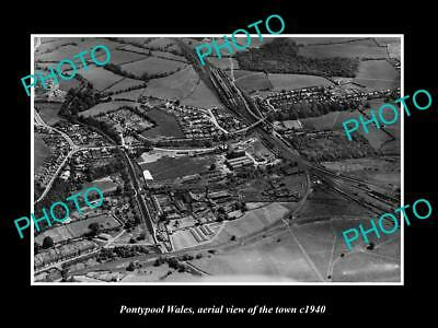 OLD LARGE HISTORIC PHOTO OF PONTYPOOL WALES, AERIEL VIEW OF THE TOWN c1940 2