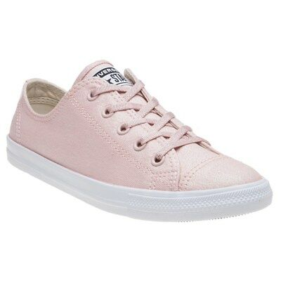 068e38983e2b New Womens Converse Pink Natural All Star Dainty Ox Textile Trainers Canvas  Lace