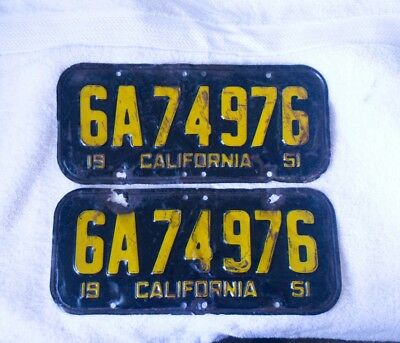 1951 California License Plates Matched Pair Set 51 Ca