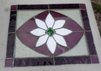 Vtg Handmade Leaded Stained Glass Flower Window Panel Green Faceted Jewel Accent