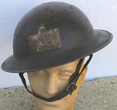 WW1 US Army 2nd Division M18 Painted Helmet 2nd Bat. 12th Artillery Liner RARE