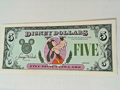 1987 Proof $5 Disney Five Dollar Goofy No serial # number Mint disneyland