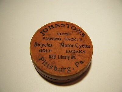 Antique 1913 Collapsible Drinking cup Johnston's tackle , motorcycles Pittsburgh