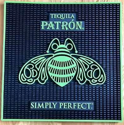 "GENUINE PATRON LARGE BAR SPILL MAT- Simply Perfect Tequila - 17"" x 17"" Green"