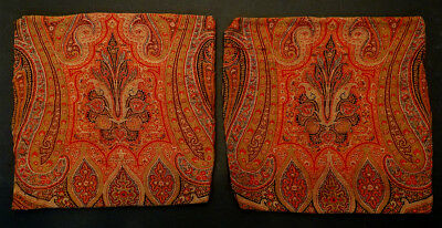 1800's ANTIQUE Vintage KASHMIR PAISLEY SHAWL HandWoven Wool Fabric PILLOW COVERS