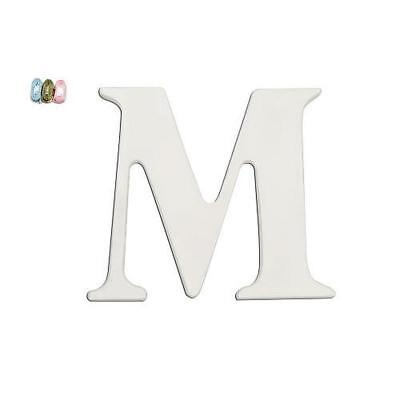 """Babies""""R""""Us M White Wooden Personalizable Letter Wall Decor 7.5 Inch BHFO 2091"""