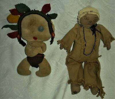 PAIR ANTIQUE c1920S – 40S PLAINS AREA STUFFED DOLLS BOUGHT FROM NAVAJO MAN vafo