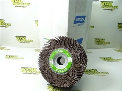 "New!! Case Of 5 Norton Neon Flap Wheels 6"" X 2"" X 1"" 40 Grit"