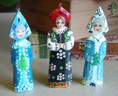 Three (3) Vintage Hand Carved & Painted Wood Russian Doll Xmas Ornaments 4.5""