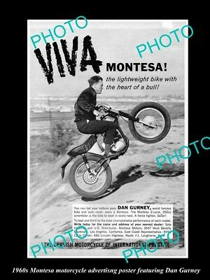 OLD LARGE HISTORIC PHOTO OF 1960s MONTESA MOTORCYCLE ADVERT POSTER, DAN GURNEY