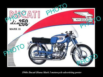 OLD LARGE HISTORIC PHOTO OF 1960s DUACTI DIANA 250 MOTORCYCLE ADVERT POSTER