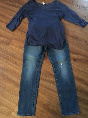 Maternity Outfit Jeans&Top- Very Cute! Size M- 12-Motherhood& OldNavy