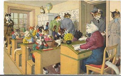 Alfred Mainzer,hartung Dressed Cats~#4697 In The Classroom~Switzerland