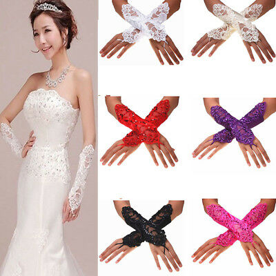 1 Pairs Ladies Fingerless Pearls Lace Satin Bridal Gloves Wedding Party Costume