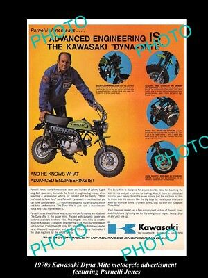 OLD LARGE HISTORIC PHOTO OF 1970s KAWASAKI DYNA MITE MOTORCYCLE ADVERT POSTER