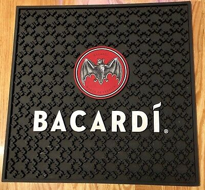 Bacardi Red Bat Bar / Rail Rubber Spill Mat Black Large MAN CAVE MUST HAVE Nice