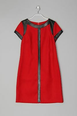MARIELY PARIS Vintage-Kleid in A-Linie mit Faux Leather-Details F 40 = D 38 rot