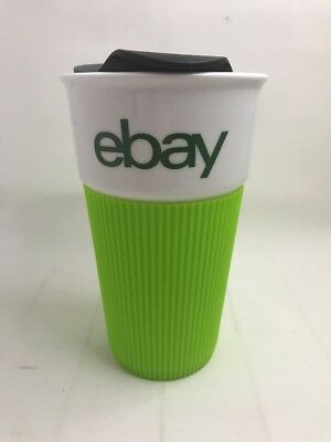 eBay Ceramic Travel Tumbler 12 oz New eBay Swag with green Silicone Grip holder