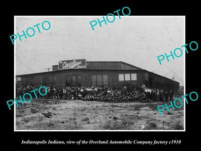 OLD LARGE HISTORIC PHOTO OF INDIANAPOLIS IN, OVERLAND MOTOR CAR Co FACTORY 1910