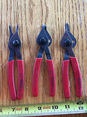 "Retaining for external and Internal Ring Convertible Pliers lot of 3 5 1/2"" tall"