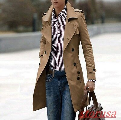 Mens Lapel Collar Double Breasted Belt Slim Fit Long Paka Coat Trench Jacket hot