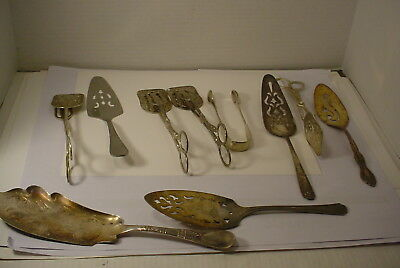 10 Silverplate Flatware SILVERWARE  CAKE PIE SERVERS TONGS