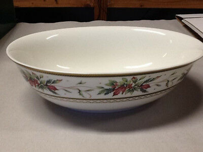 fitz and floyd winter holiday oval serving bowl