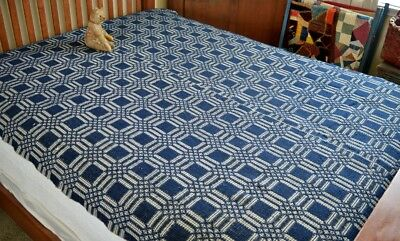 Antique 19th c Two Panel American Coverlet