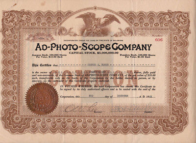 Rare certifcate of the Ad-Photo-Scope Company, New technology in 1921