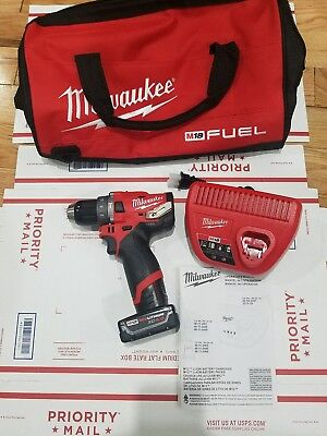 Milwaukee 2504-20 M12 FUEL 12-Volt Brushless 1/2 In Hammer Drill+battery+charger