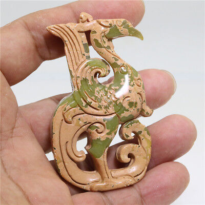 Chinese hongshan culture style jade carved brown standing phoenix pendant L85
