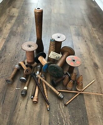 Old Antique Industrial Factory Bobbins Wooden Props For Ribbon Lace Sewing