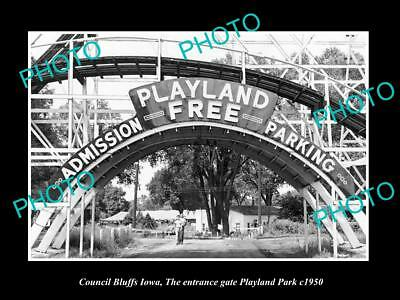 OLD LARGE HISTORIC PHOTO OF COUNCIL BLUFFS IOWA, THE PLAYLAND PARK GATE c1950