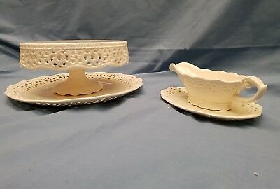 Creamware pierced Pedestal Cake Stand and sauce boat