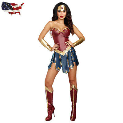 Adult Wonder Woman Costume Movie Superhero Cosplay Fancy Dress Outfit