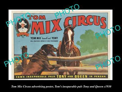 OLD LARGE HISTORIC PHOTO OF COWBOY TOM MIX CIRCUS ADVERTISING POSTER c1930 3