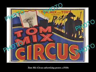 OLD LARGE HISTORIC PHOTO OF COWBOY TOM MIX CIRCUS ADVERTISING POSTER c1930 1