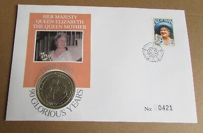 1990 PNC Limited Edition Queen Mother Isle of Man Stamp & Crown Coin Cover