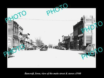OLD LARGE HISTORIC PHOTO OF BANCROFT IOWA, THE MAIN STREET & STORES c1940